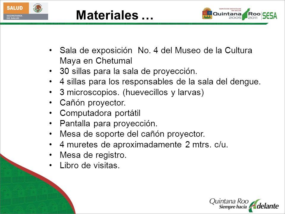 Sala de exposición No. 4 del Museo de la Cultura Maya en Chetumal 30 sillas para la sala de proyección. 4 sillas para los responsables de la sala del