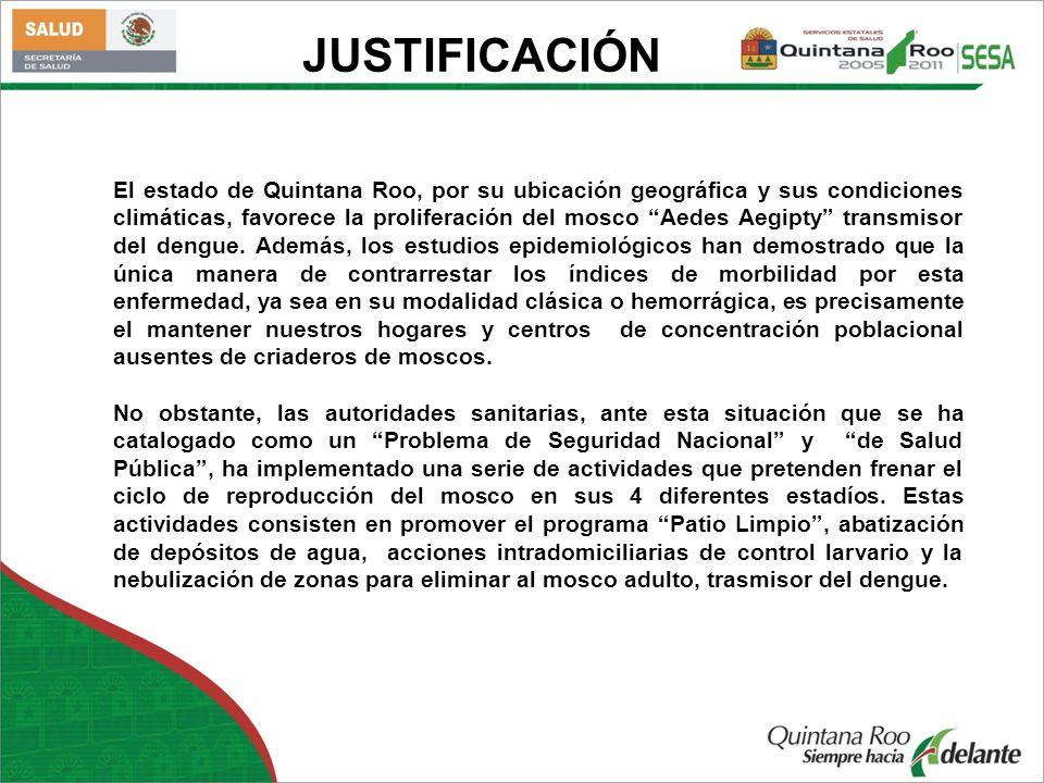 El estado de Quintana Roo, por su ubicación geográfica y sus condiciones climáticas, favorece la proliferación del mosco Aedes Aegipty transmisor del