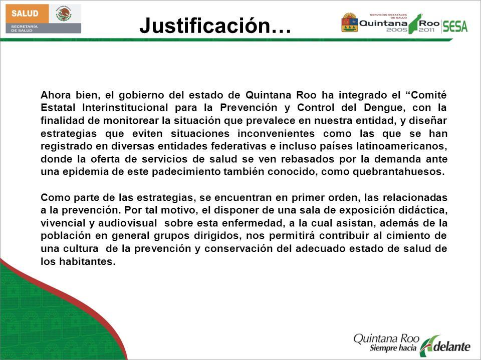 Ahora bien, el gobierno del estado de Quintana Roo ha integrado el Comité Estatal Interinstitucional para la Prevención y Control del Dengue, con la f