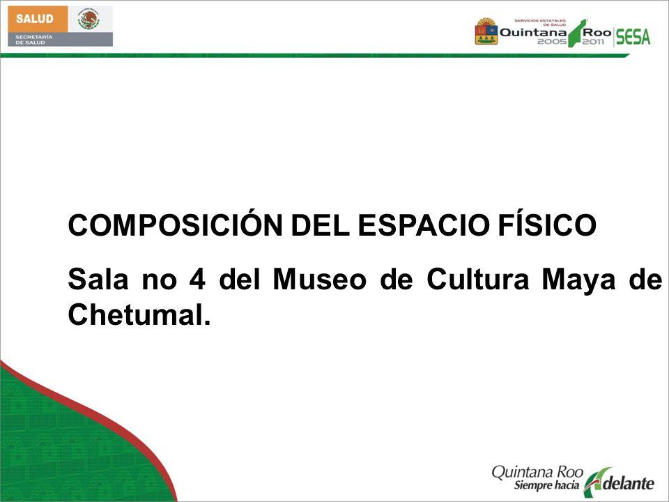 COMPOSICIÓN DEL ESPACIO FÍSICO Sala no 4 del Museo de Cultura Maya de Chetumal.