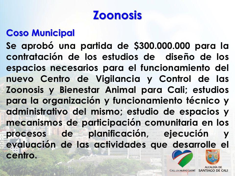 Zoonosis Coso Municipal Se aprobó una partida de $300.000.000 para la contratación de los estudios de diseño de los espacios necesarios para el funcio