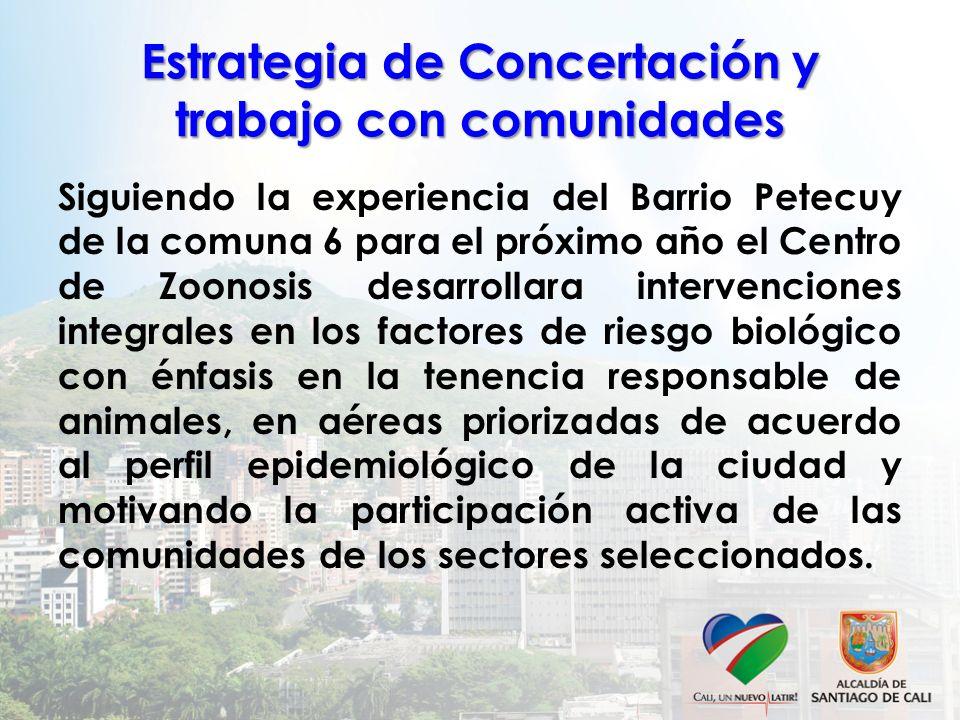 Estrategia de Concertación y trabajo con comunidades Siguiendo la experiencia del Barrio Petecuy de la comuna 6 para el próximo año el Centro de Zoono