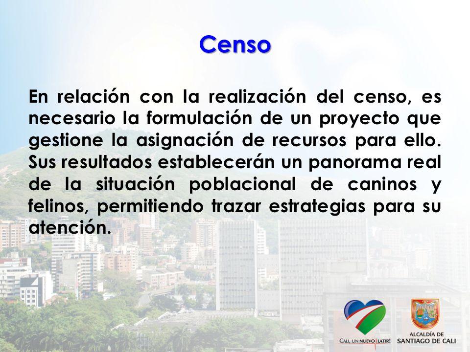Censo En relación con la realización del censo, es necesario la formulación de un proyecto que gestione la asignación de recursos para ello. Sus resul