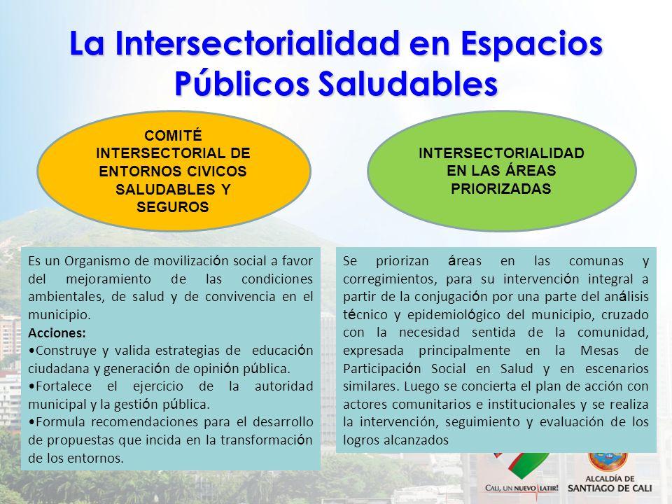 La Intersectorialidad en Espacios Públicos Saludables COMITÉ INTERSECTORIAL DE ENTORNOS CIVICOS SALUDABLES Y SEGUROS INTERSECTORIALIDAD EN LAS ÁREAS P