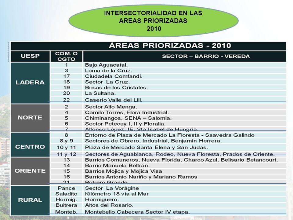 INTERSECTORIALIDAD EN LAS AREAS PRIORIZADAS 2010