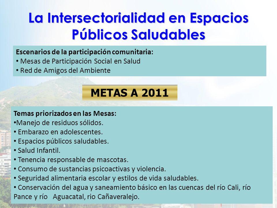 La Intersectorialidad en Espacios Públicos Saludables Temas priorizados en las Mesas: Manejo de residuos sólidos. Embarazo en adolescentes. Espacios p