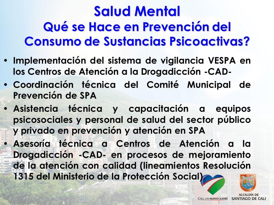 Salud Mental Qué se Hace en Prevención del Consumo de Sustancias Psicoactivas? Implementación del sistema de vigilancia VESPA en los Centros de Atenci
