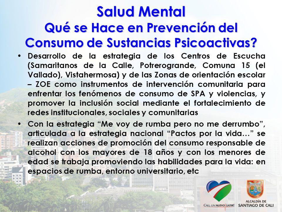Salud Mental Qué se Hace en Prevención del Consumo de Sustancias Psicoactivas? Desarrollo de la estrategia de los Centros de Escucha (Samaritanos de l