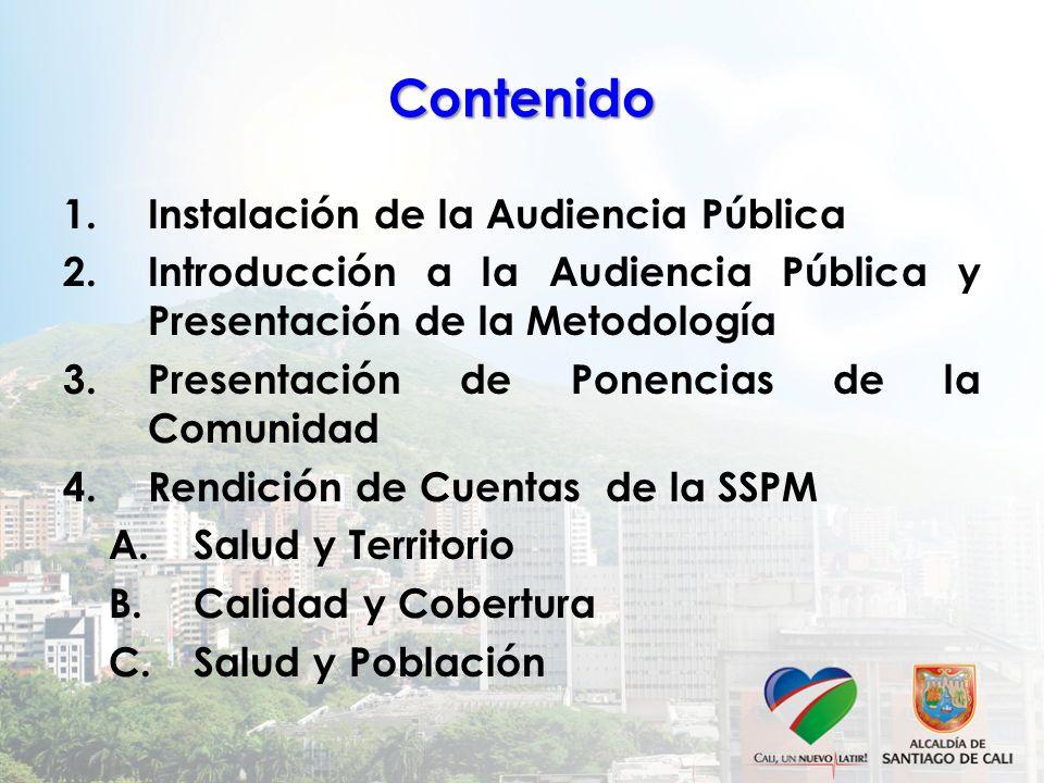 Contenido 1.Instalación de la Audiencia Pública 2.Introducción a la Audiencia Pública y Presentación de la Metodología 3.Presentación de Ponencias de