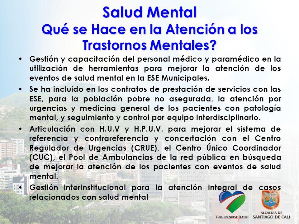 Salud Mental Qué se Hace en la Atención a los Trastornos Mentales? Gestión y capacitación del personal médico y paramédico en la utilización de herram