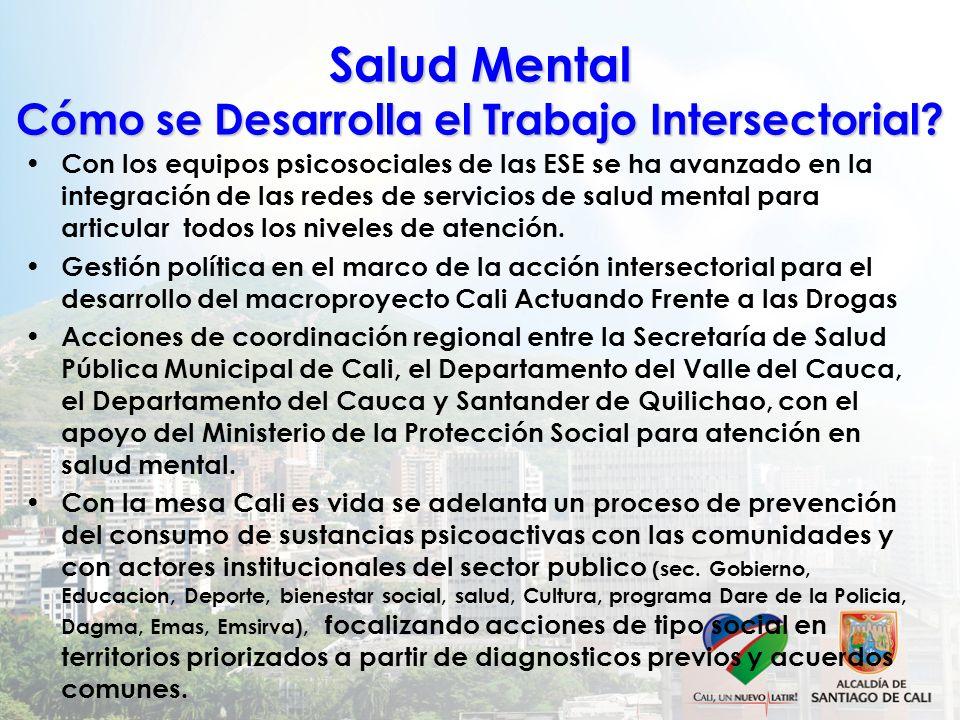 Salud Mental Cómo se Desarrolla el Trabajo Intersectorial? Con los equipos psicosociales de las ESE se ha avanzado en la integración de las redes de s