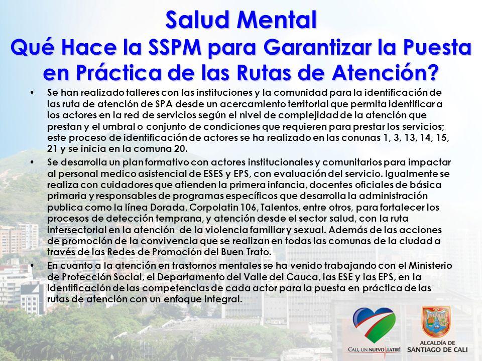 Salud Mental Qué Hace la SSPM para Garantizar la Puesta en Práctica de las Rutas de Atención? Se han realizado talleres con las instituciones y la com