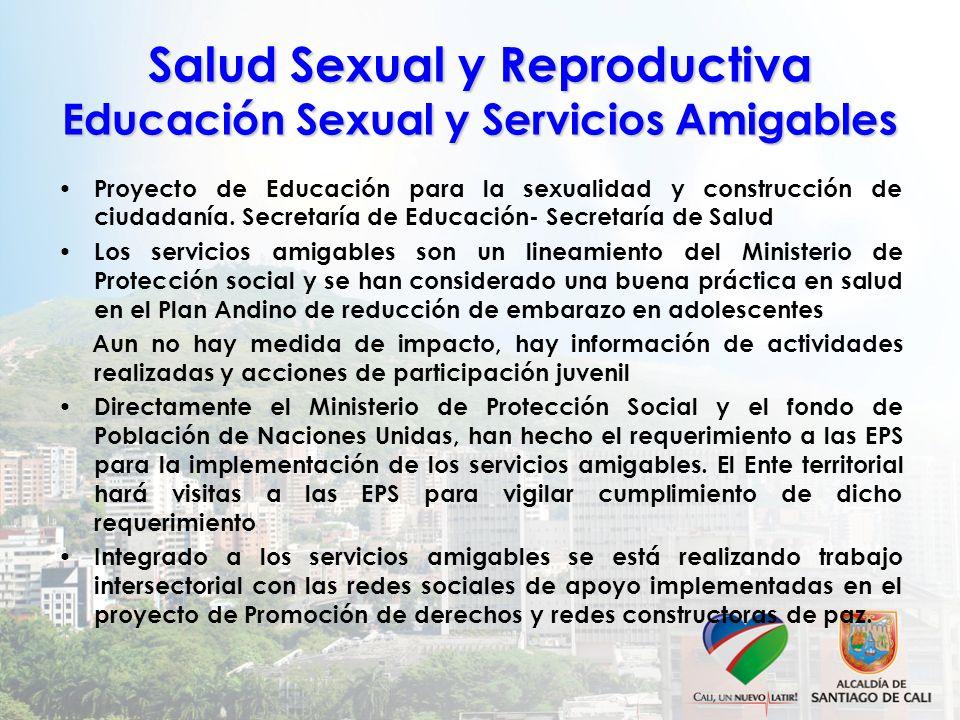 Salud Sexual y Reproductiva Educación Sexual y Servicios Amigables Proyecto de Educación para la sexualidad y construcción de ciudadanía. Secretaría d