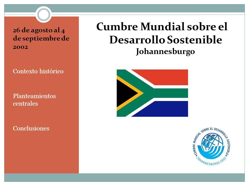 CONTEXTO HISTÓRICO La Cumbre de Johannesburgo surge en el marco programático de celebraciones mundiales que entronizan un modelo neoliberal supereconomizado Desde la rectoría en la ONU, Koffi Annan (1997-2001 y 2001-2006) intentó posicionar a África en el entorno internacional, (NEPAD) Del mismo modo, confirma los principios de la Declaración del Milenio (Declaración seis, El respeto de la naturaleza, ONU, 2000) 2002 viene arrastrando cuatro años de crisis mundial de producción de granos, el continente africano es especialmente afectado colocando a 11 millones de personas en situación de hambre (Capítulo VIII.