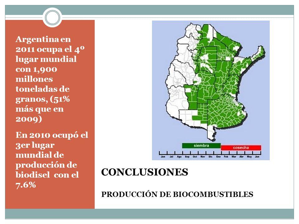 CONCLUSIONES PRODUCCIÓN DE BIOCOMBUSTIBLES Argentina en 2011 ocupa el 4º lugar mundial con 1,900 millones toneladas de granos, (51% más que en 2009) En 2010 ocupó el 3er lugar mundial de producción de biodisel con el 7.6%