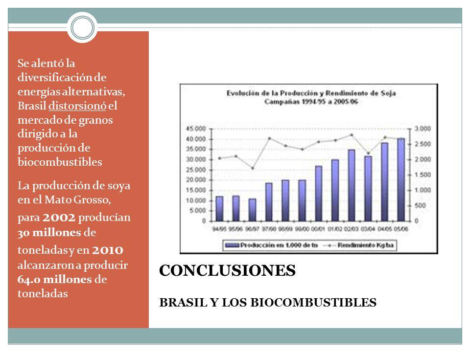 CONCLUSIONES BRASIL Y LOS BIOCOMBUSTIBLES Se alentó la diversificación de energías alternativas, Brasil distorsionó el mercado de granos dirigido a la producción de biocombustibles La producción de soya en el Mato Grosso, para 2002 producían 30 millones de toneladas y en 2010 alcanzaron a producir 64.0 millones de toneladas