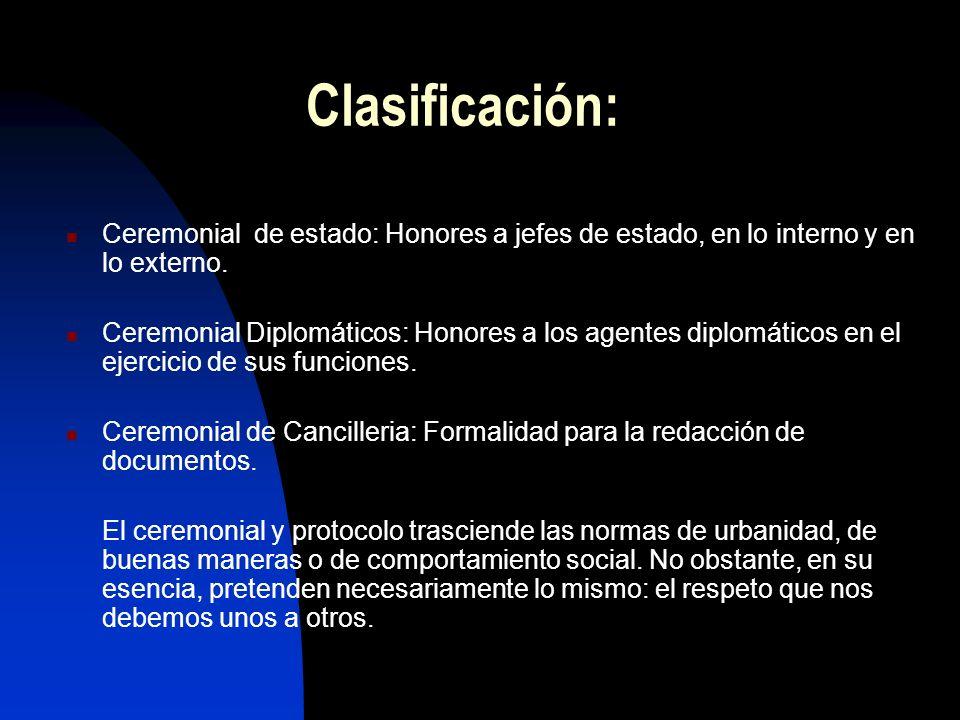 Clasificación: Ceremonial de estado: Honores a jefes de estado, en lo interno y en lo externo. Ceremonial Diplomáticos: Honores a los agentes diplomát