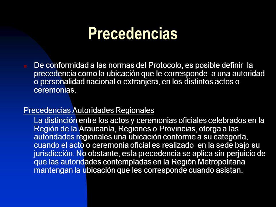 Precedencias De conformidad a las normas del Protocolo, es posible definir la precedencia como la ubicación que le corresponde a una autoridad o personalidad nacional o extranjera, en los distintos actos o ceremonias.