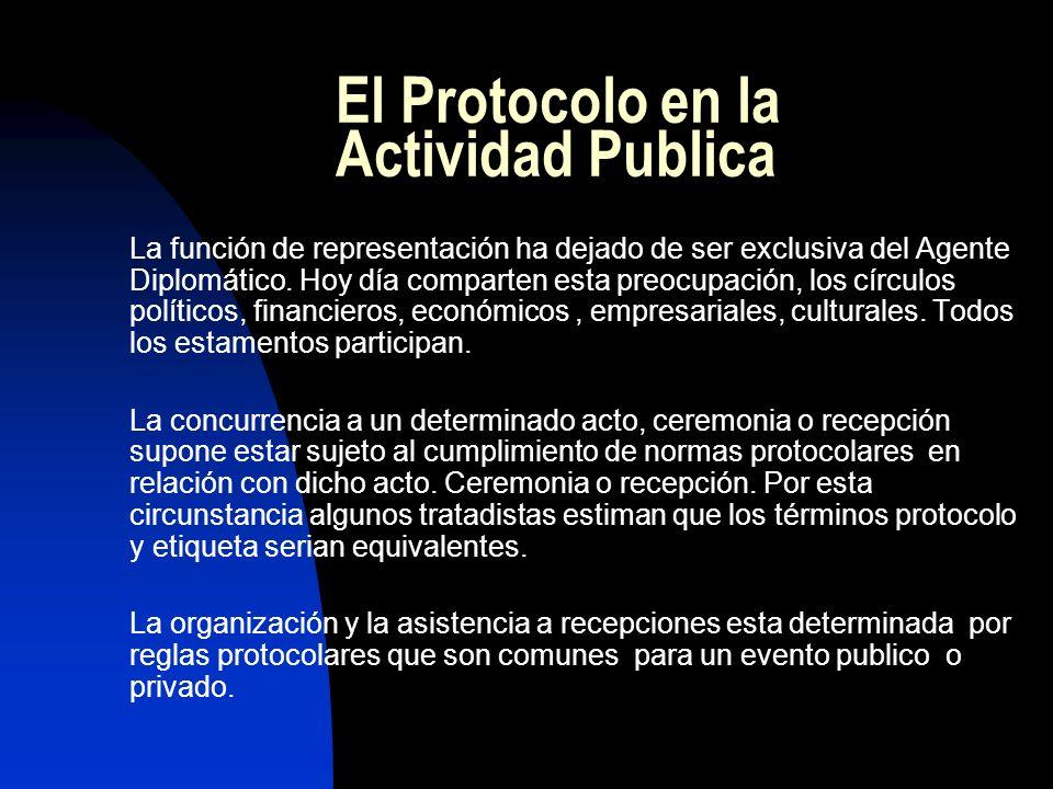 El Protocolo en la Actividad Publica La función de representación ha dejado de ser exclusiva del Agente Diplomático. Hoy día comparten esta preocupaci