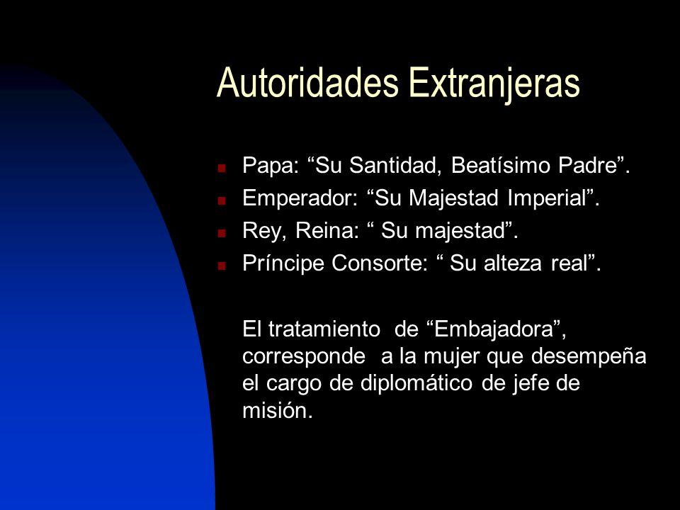 Autoridades Extranjeras Papa: Su Santidad, Beatísimo Padre.