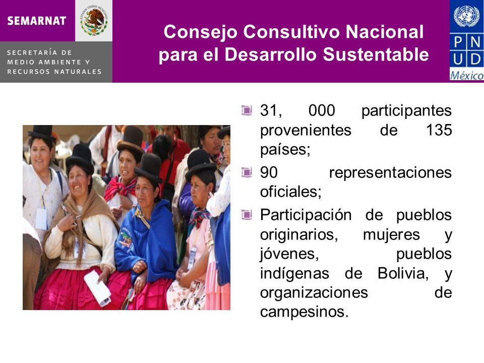 Consejo Consultivo Nacional para el Desarrollo Sustentable 31, 000 participantes provenientes de 135 países; 90 representaciones oficiales; Participac