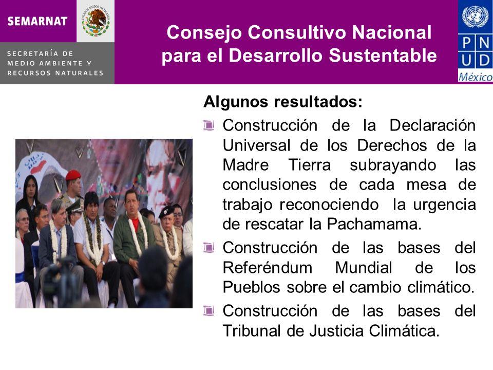 Consejo Consultivo Nacional para el Desarrollo Sustentable Algunos resultados: Construcción de la Declaración Universal de los Derechos de la Madre Ti