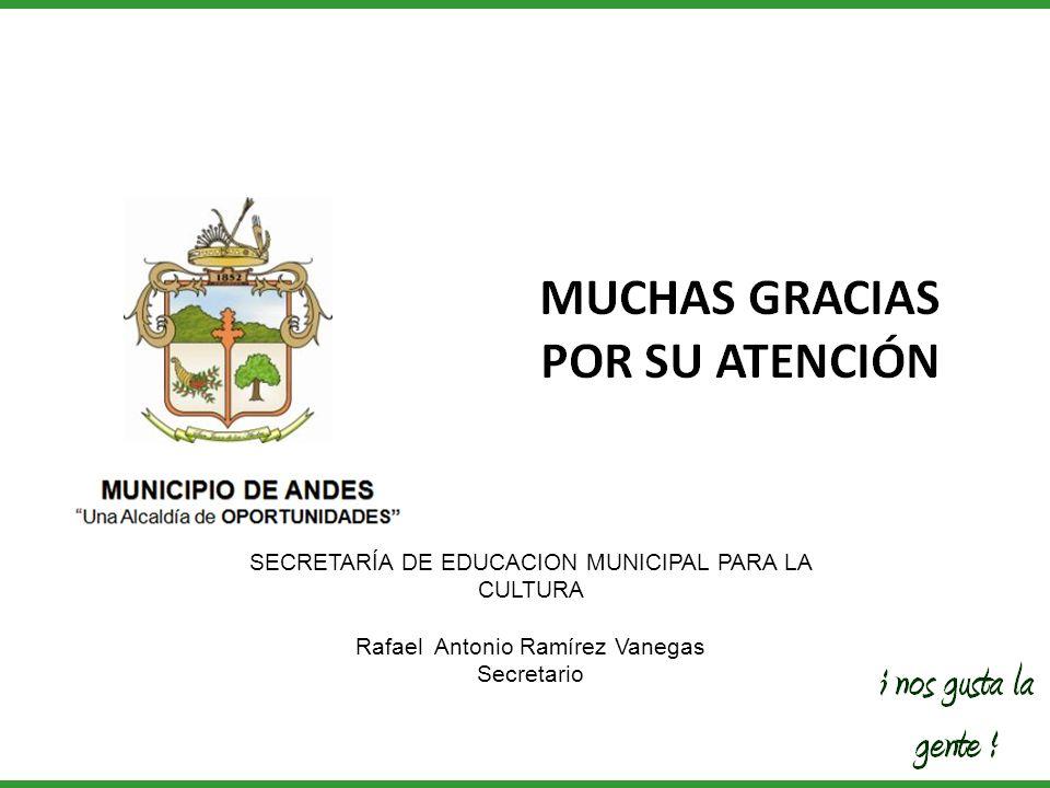 SECRETARÍA DE EDUCACION MUNICIPAL PARA LA CULTURA Rafael Antonio Ramírez Vanegas Secretario
