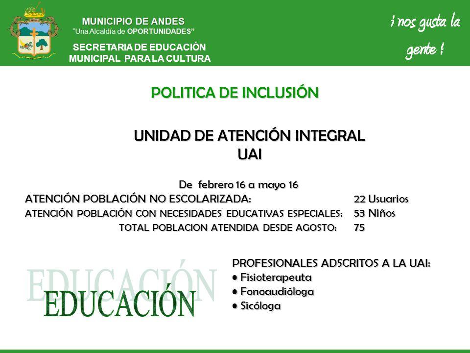 SECRETARIA DE EDUCACIÓN MUNICIPAL PARA LA CULTURA POLITICA DE INCLUSIÓN UNIDAD DE ATENCIÓN INTEGRAL UAI De febrero 16 a mayo 16 ATENCIÓN POBLACIÓN NO