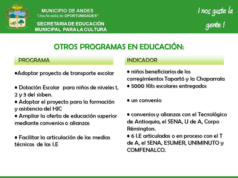 SECRETARIA DE EDUCACIÓN MUNICIPAL PARA LA CULTURA OTROS PROGRAMAS EN EDUCACIÓN: PROGRAMAINDICADOR Adoptar proyecto de transporte escolarAdoptar proyec