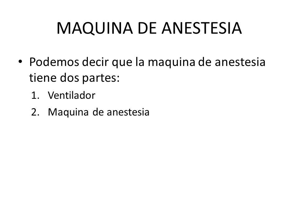 MAQUINA DE ANESTESIA Podemos decir que la maquina de anestesia tiene dos partes: 1.Ventilador 2.Maquina de anestesia