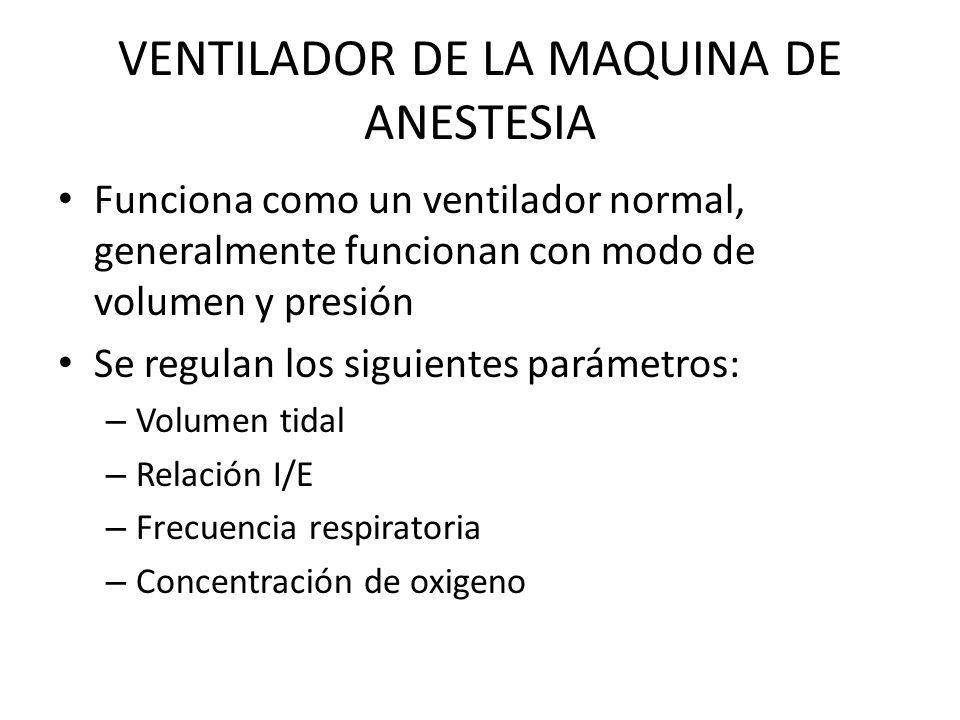 VENTILADOR DE LA MAQUINA DE ANESTESIA Funciona como un ventilador normal, generalmente funcionan con modo de volumen y presión Se regulan los siguientes parámetros: – Volumen tidal – Relación I/E – Frecuencia respiratoria – Concentración de oxigeno