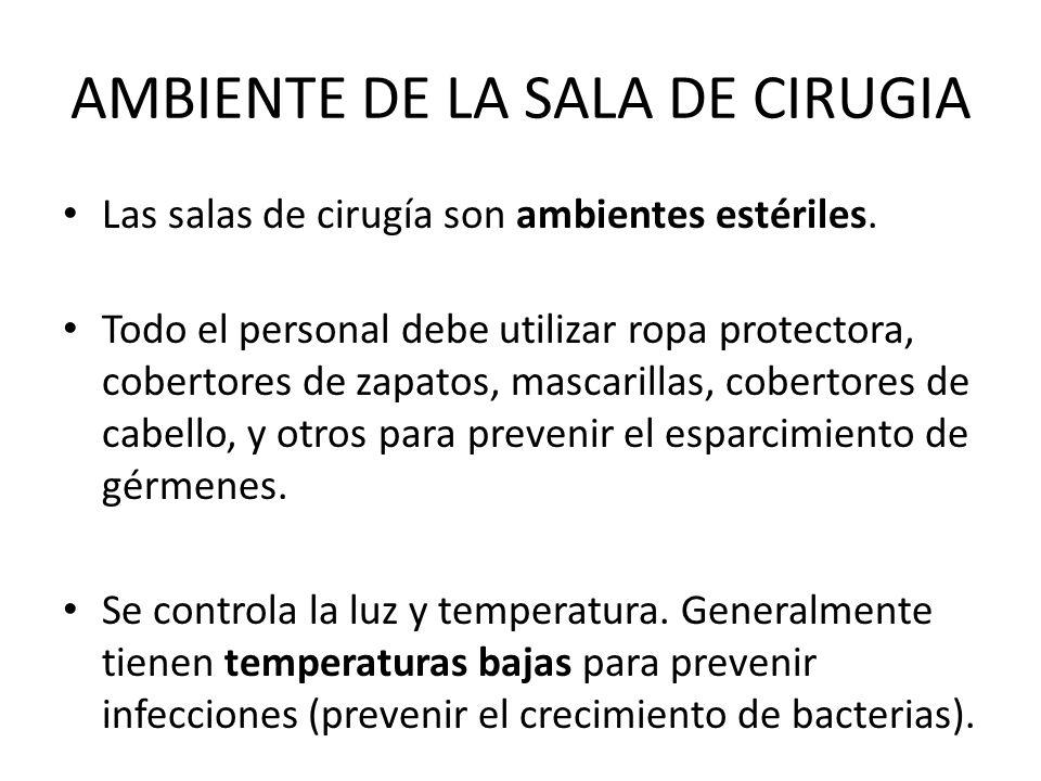 AMBIENTE DE LA SALA DE CIRUGIA Las salas de cirugía son ambientes estériles.
