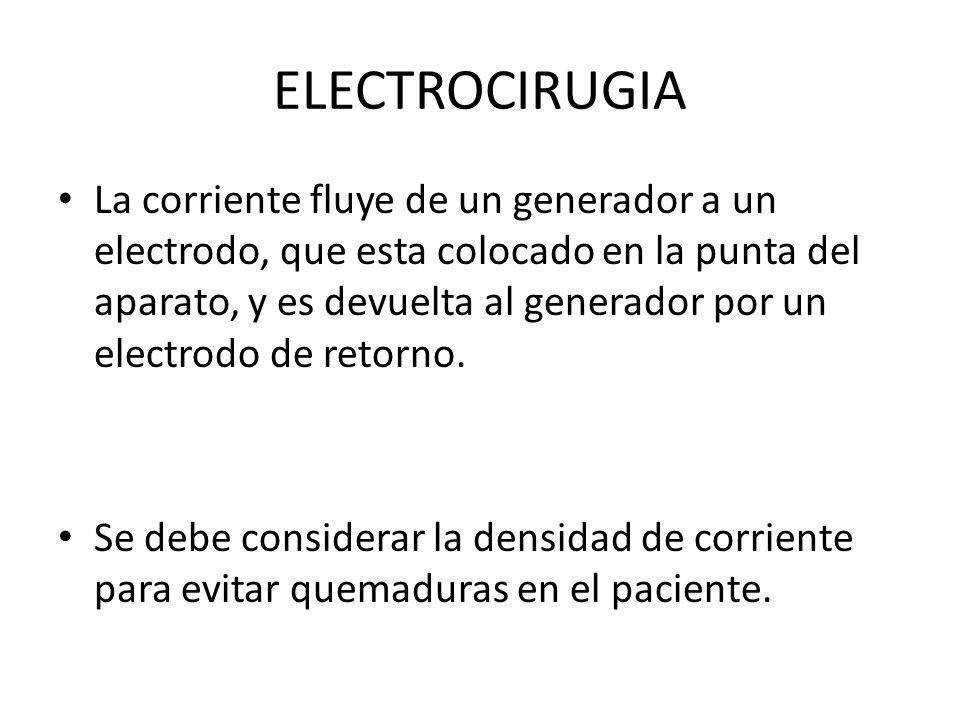 ELECTROCIRUGIA La corriente fluye de un generador a un electrodo, que esta colocado en la punta del aparato, y es devuelta al generador por un electrodo de retorno.