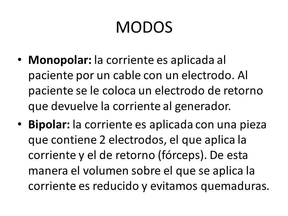 MODOS Monopolar: la corriente es aplicada al paciente por un cable con un electrodo.