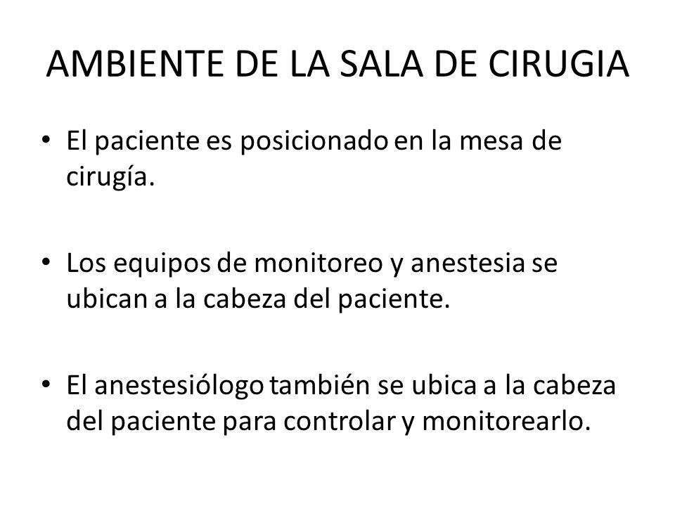AMBIENTE DE LA SALA DE CIRUGIA El paciente es posicionado en la mesa de cirugía.