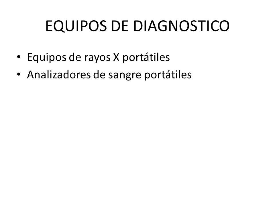 EQUIPOS DE DIAGNOSTICO Equipos de rayos X portátiles Analizadores de sangre portátiles