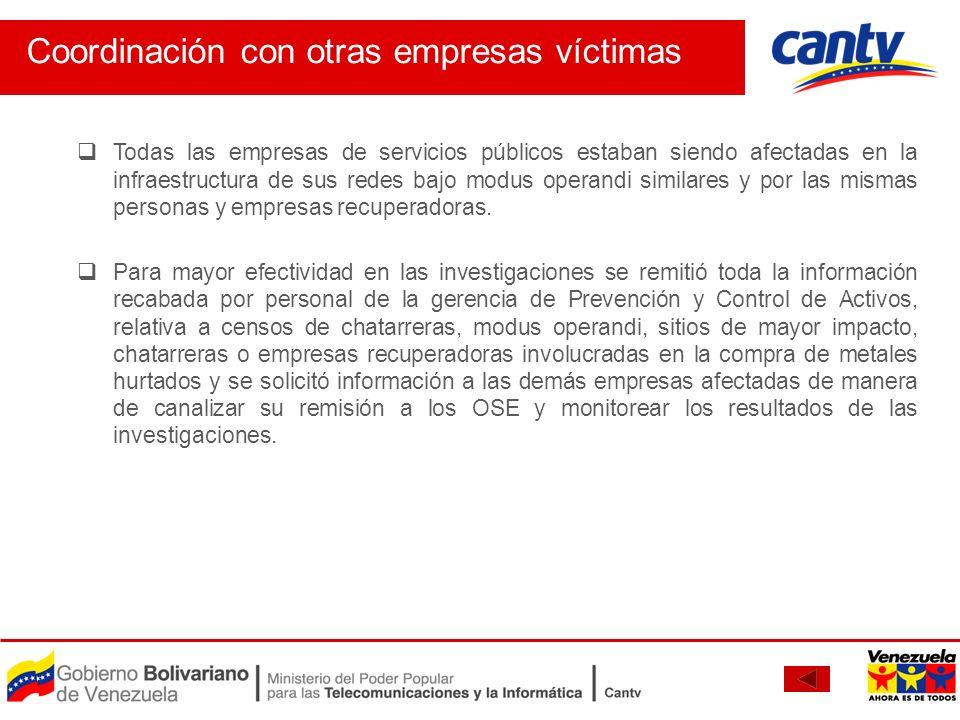 Coordinación con otras empresas víctimas Todas las empresas de servicios públicos estaban siendo afectadas en la infraestructura de sus redes bajo mod