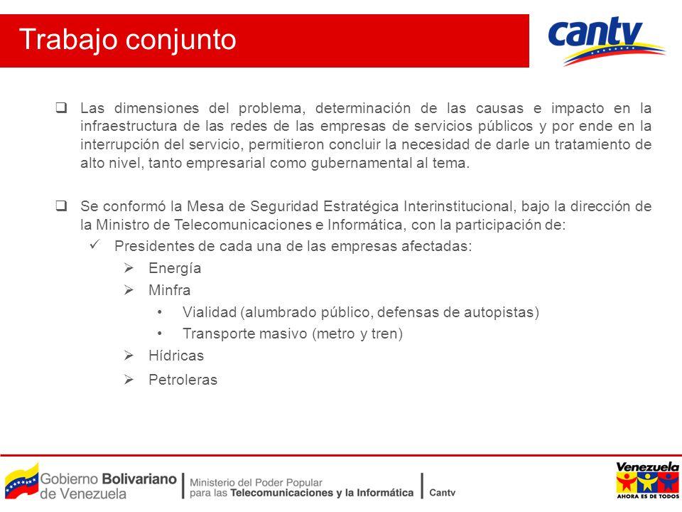 Trabajo conjunto Las dimensiones del problema, determinación de las causas e impacto en la infraestructura de las redes de las empresas de servicios p