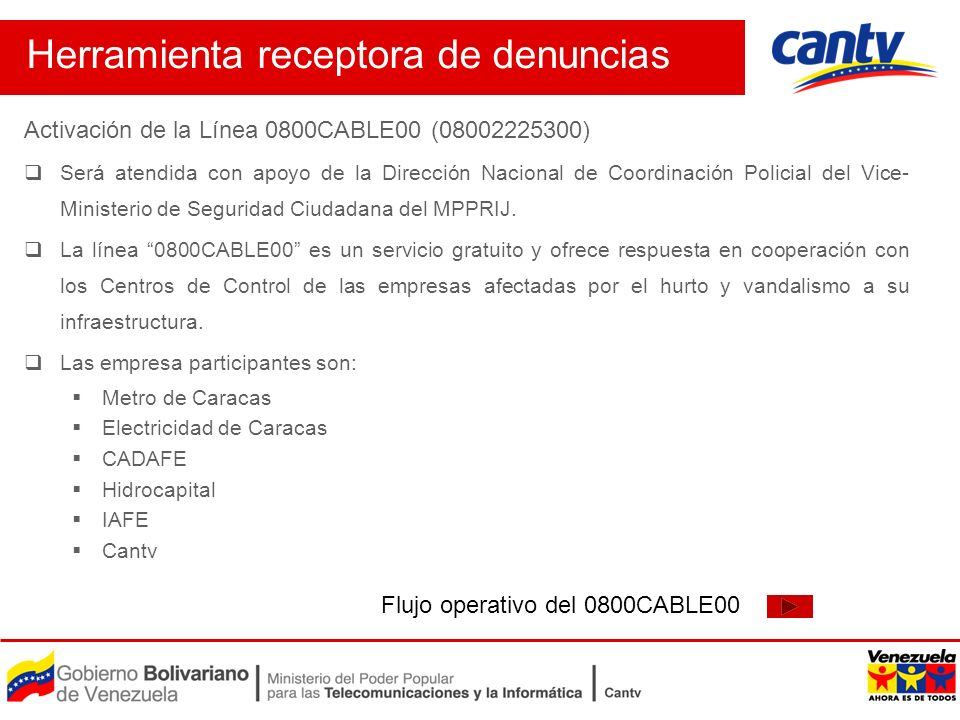 Activación de la Línea 0800CABLE00 (08002225300) Será atendida con apoyo de la Dirección Nacional de Coordinación Policial del Vice- Ministerio de Seg