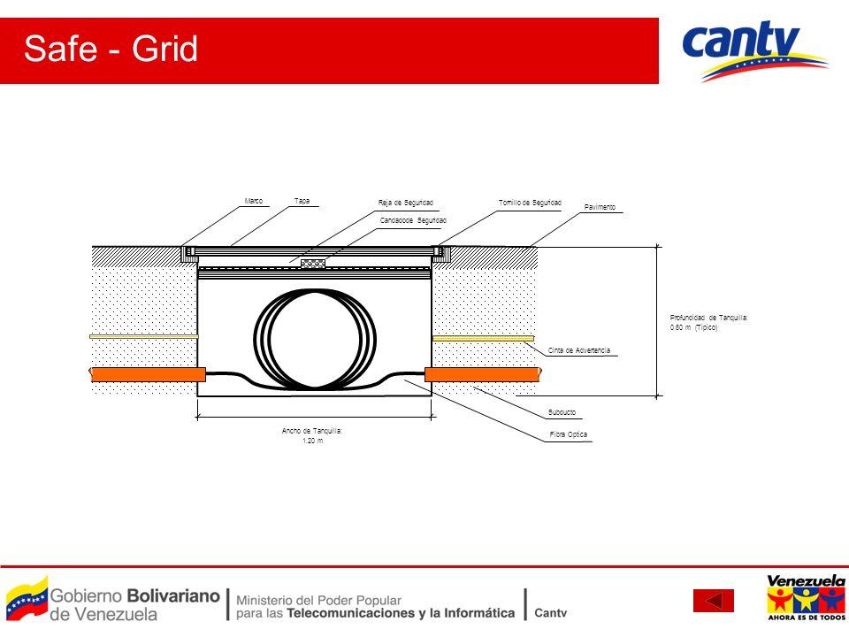 Profundidad de Tanquilla: 0.60 m (Tipico) Ancho de Tanquilla: 1.20 m Pavimento Marco Cinta de Advertencia Fibra Optica Subducto Tapa Tornillo de Segur