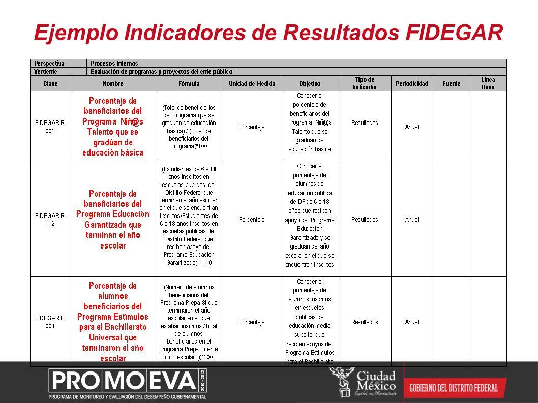 Ejemplo Indicadores de Resultados FIDEGAR