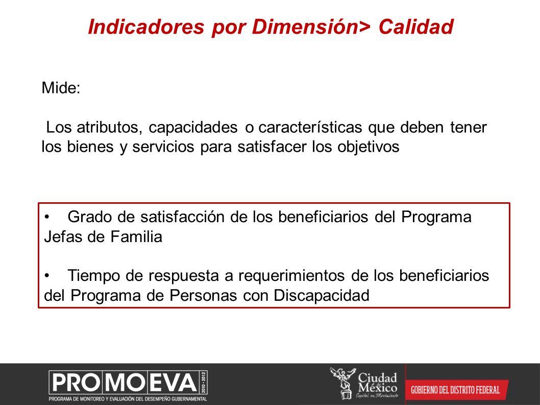 Indicadores por Dimensión> Calidad Mide: Los atributos, capacidades o características que deben tener los bienes y servicios para satisfacer los objet