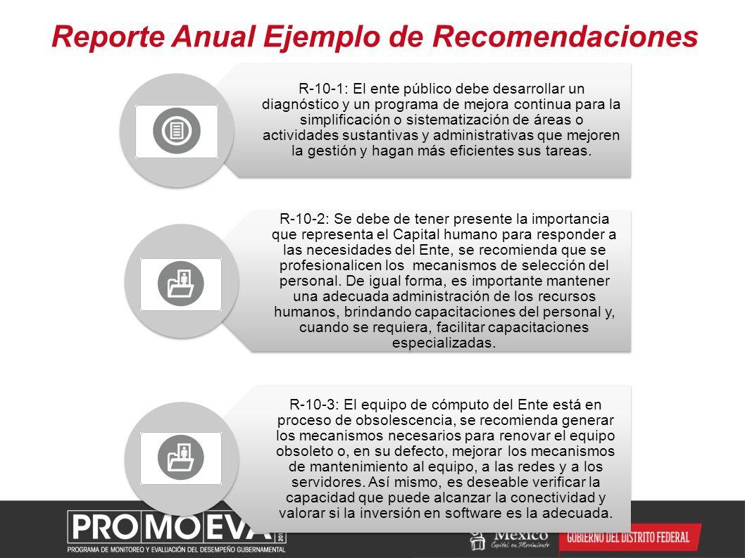 Reporte Anual Ejemplo de Recomendaciones R-10-1: El ente público debe desarrollar un diagnóstico y un programa de mejora continua para la simplificaci