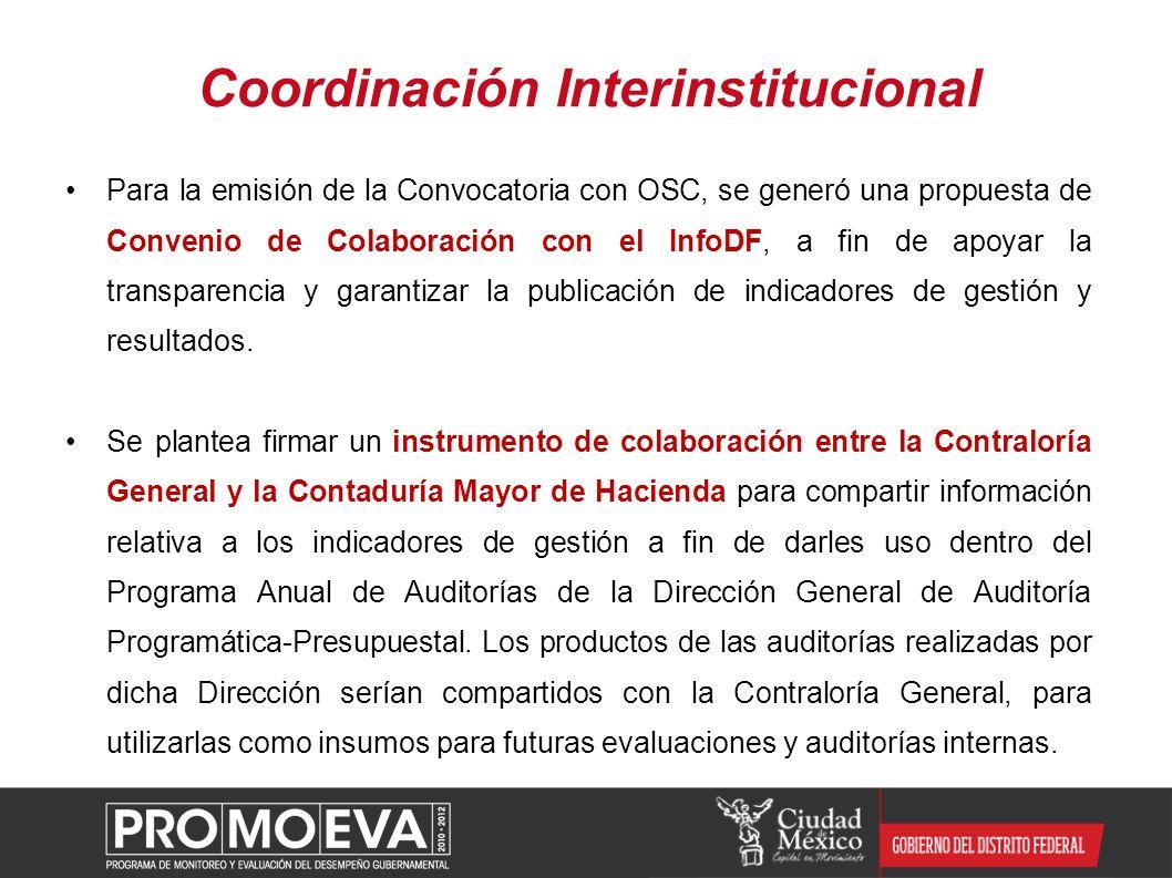 Para la emisión de la Convocatoria con OSC, se generó una propuesta de Convenio de Colaboración con el InfoDF, a fin de apoyar la transparencia y gara
