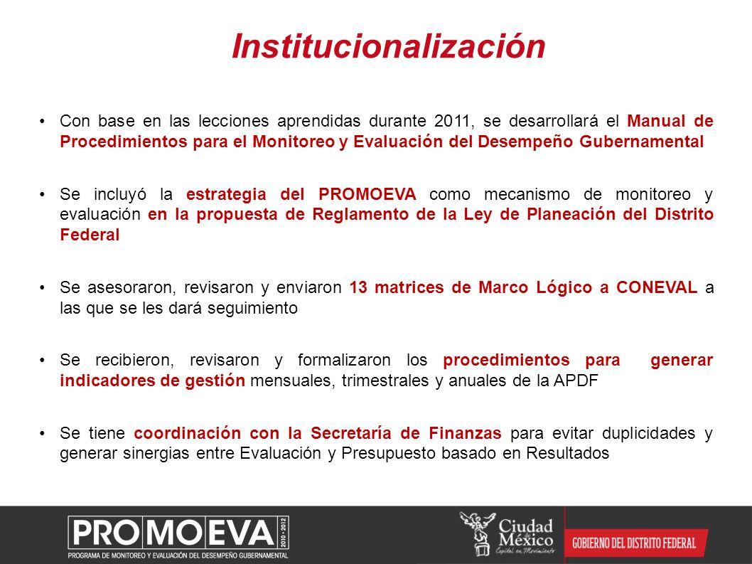 Con base en las lecciones aprendidas durante 2011, se desarrollará el Manual de Procedimientos para el Monitoreo y Evaluación del Desempeño Gubernamen