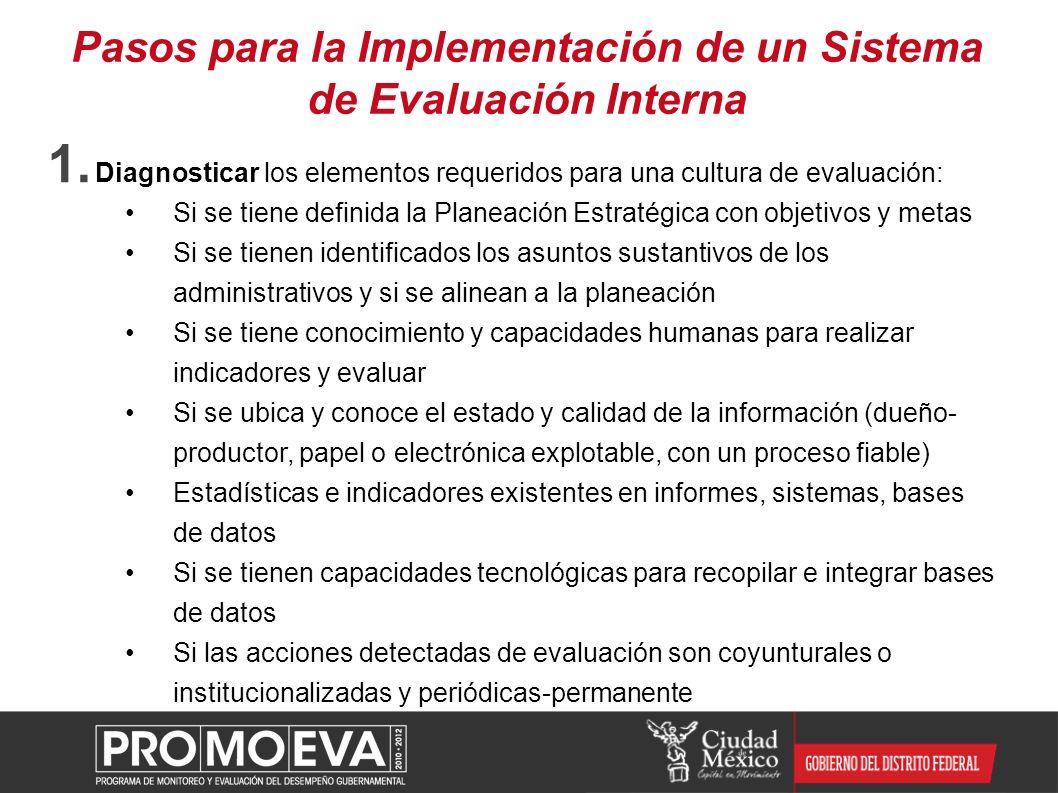 Pasos para la Implementación de un Sistema de Evaluación Interna 1. Diagnosticar los elementos requeridos para una cultura de evaluación: Si se tiene