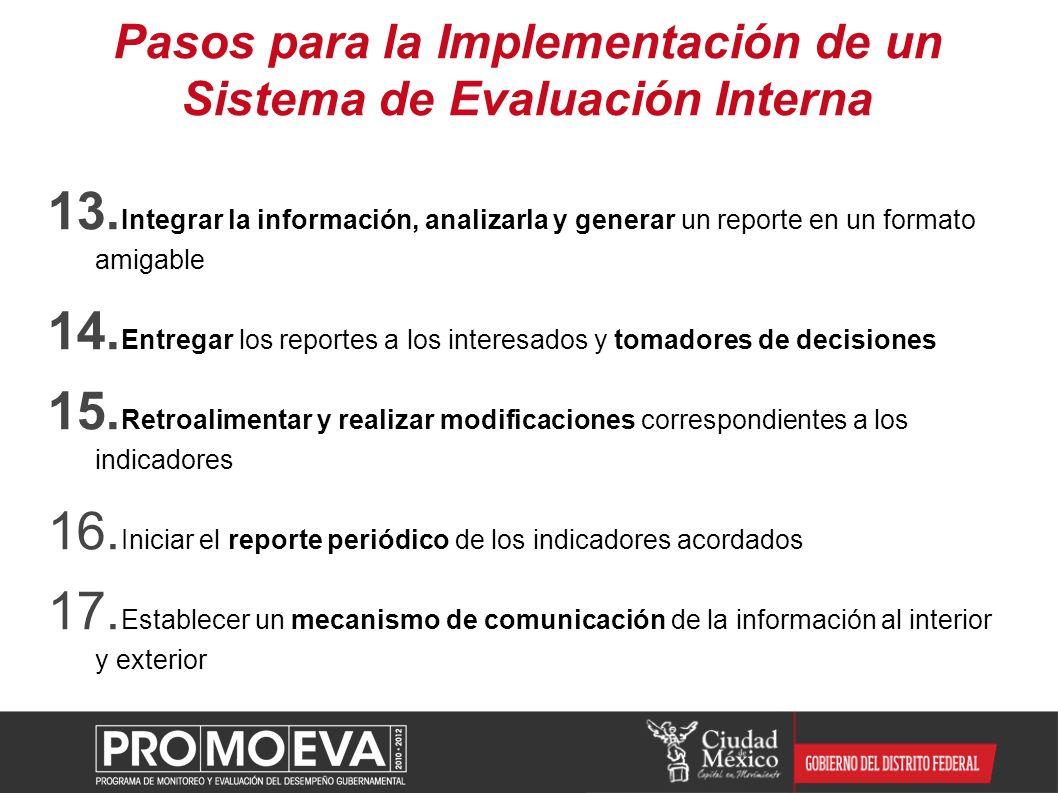 Pasos para la Implementación de un Sistema de Evaluación Interna 13. Integrar la información, analizarla y generar un reporte en un formato amigable 1