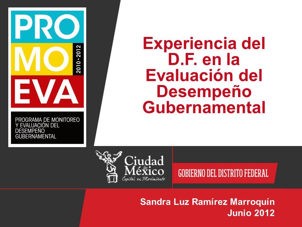 Experiencia del D.F. en la Evaluación del Desempeño Gubernamental Sandra Luz Ramírez Marroquín Junio 2012