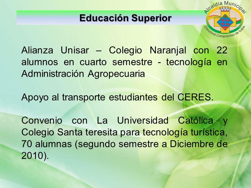 Educación Superior Alianza Unisar – Colegio Naranjal con 22 alumnos en cuarto semestre - tecnología en Administración Agropecuaria Apoyo al transporte
