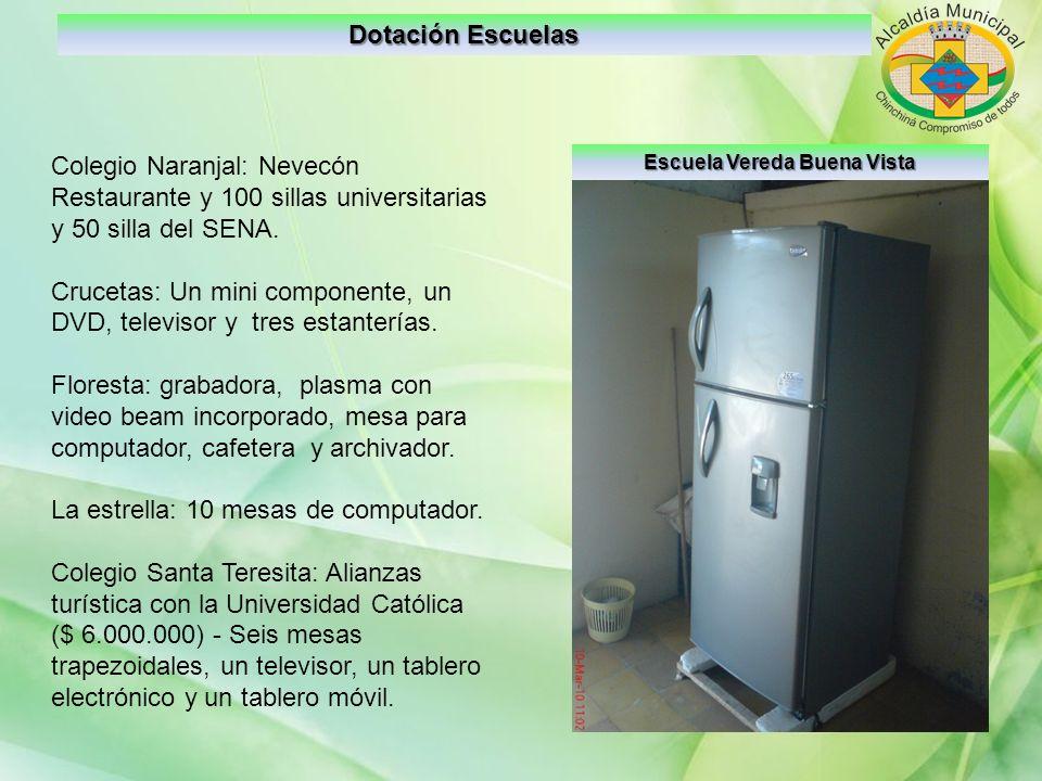 Dotación Escuelas Escuela Vereda Buena Vista Colegio Naranjal: Nevecón Restaurante y 100 sillas universitarias y 50 silla del SENA. Crucetas: Un mini